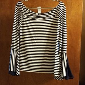 Bell Sleeve Strip Blouse